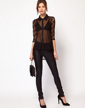 Image 4 ofWarehouse Beaded Collar Lace Blouse