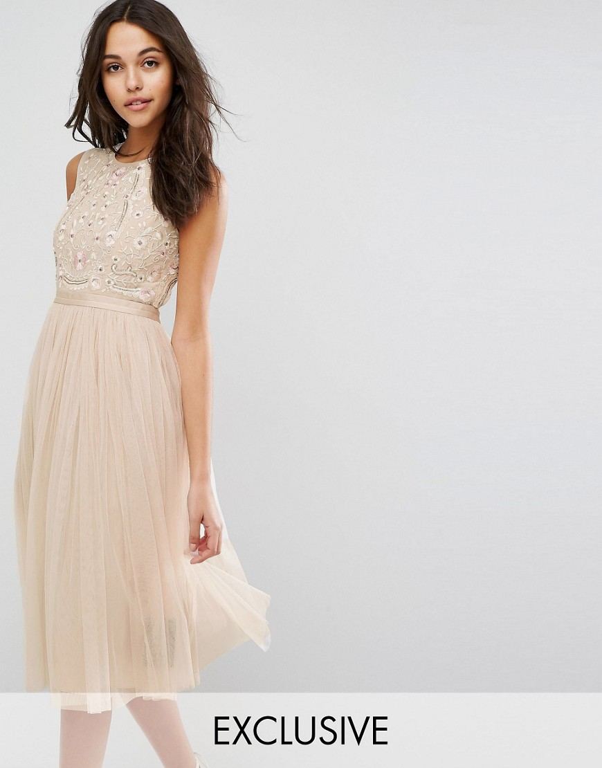 Needle & Thread Prarie Embroidered Tulle Midi Dress - Rose beige