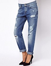 ASOS Brady Boyfriend Jeans in Ripped Vintage Wash
