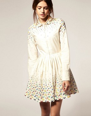 Image 1 ofASOS Fit And Flare Dress With Embroidered Spot
