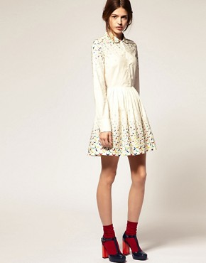 Image 4 ofASOS Fit And Flare Dress With Embroidered Spot
