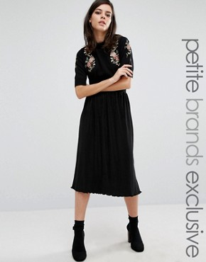 Fashion Union Petite Cameron Pleated Midi Skirt
