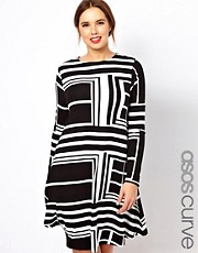 ASOS CURVE - Vestito con stampa grafica