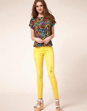 Image 4 ofASOS Yellow Skinny Jeans with Abrasion