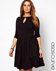 ASOS CURVE Exclusive Frill Side Midi Dress In Nepi