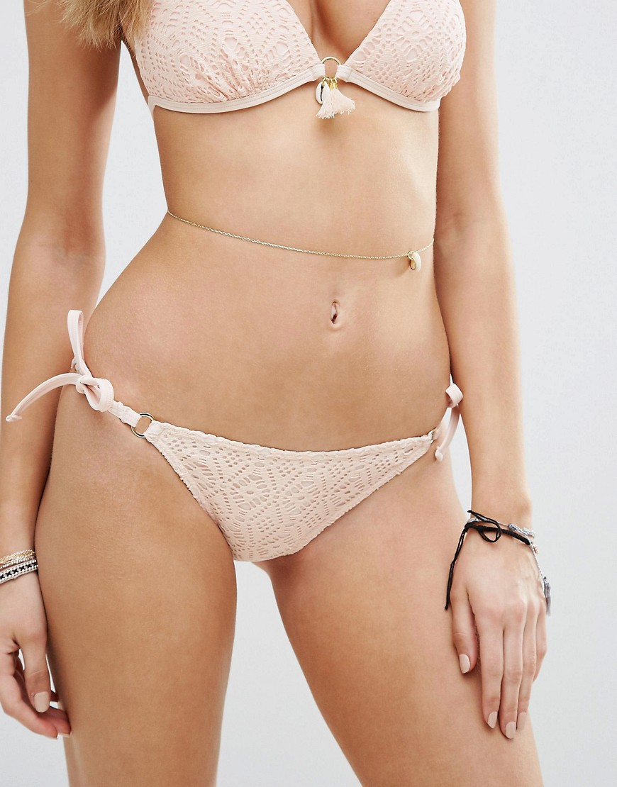 New Look Crochet Tie Side Bikini Bottom - Pink