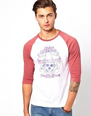 ASOS 3/4 Sleeve T-Shirt With Contrast Sleeves And Mexican Skull Print