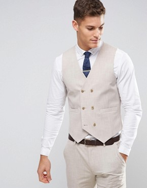 ASOS WEDDING Skinny Suit Waistcoat in Crosshatch Nep With Floral Print Lining
