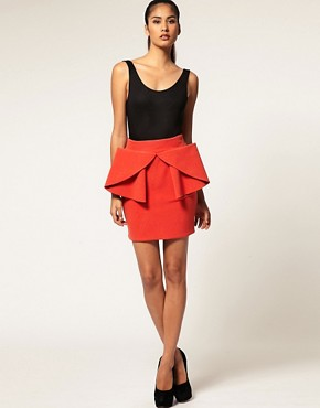 Image 1 ofAqua Helena Bow Front Tailored Mini Skirt