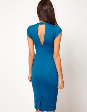 Image 2 ofASOS PETITE Exclusive Pencil Dress With Cut Out Neck Detail