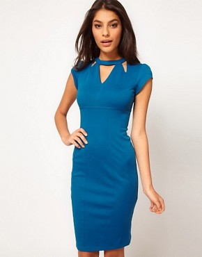 Image 4 ofASOS PETITE Exclusive Pencil Dress With Cut Out Neck Detail