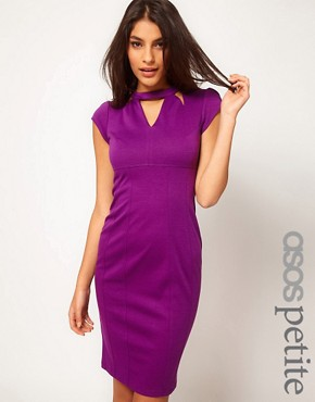 Image 1 ofASOS PETITE Exclusive Pencil Dress With Cut Out Neck Detail