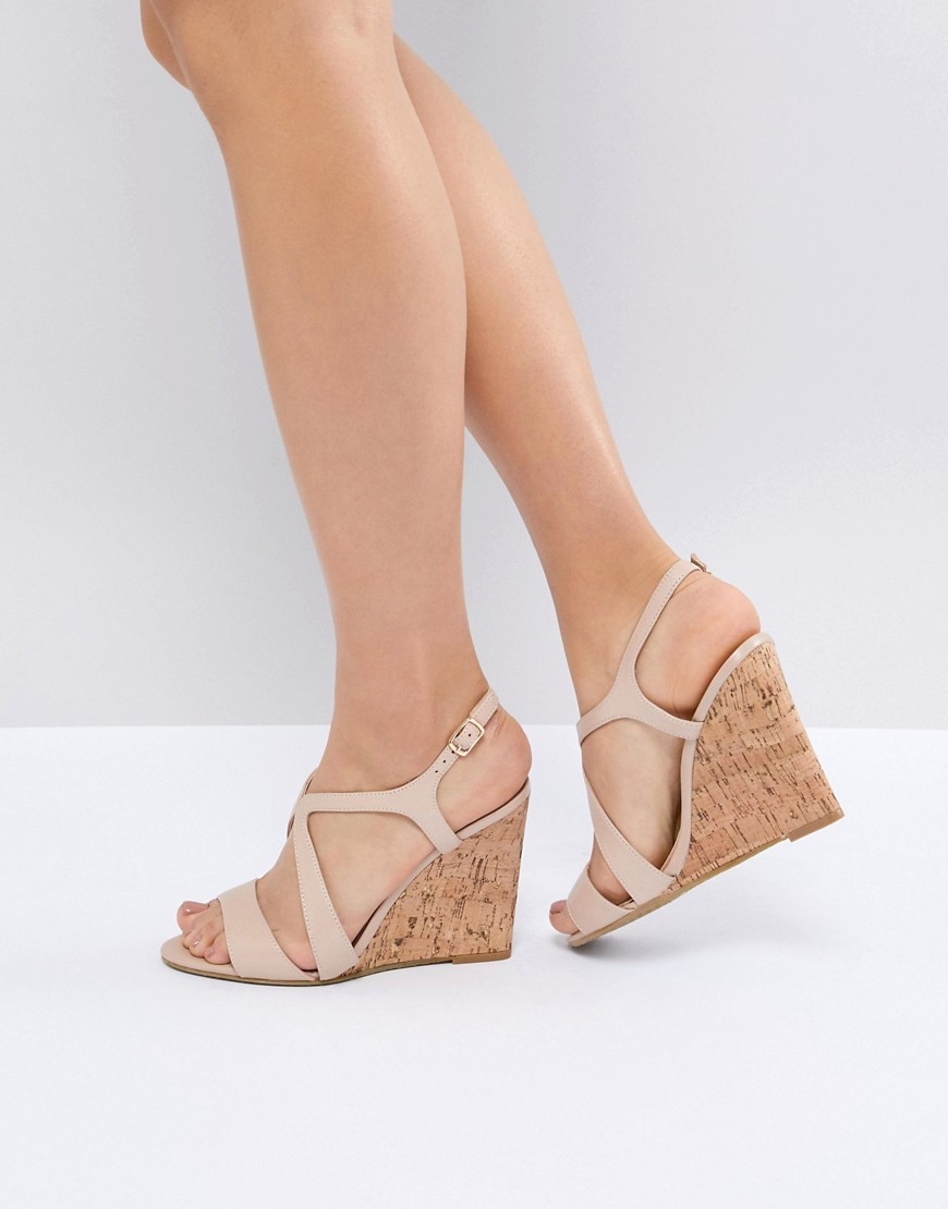 LEATHER SUMMER CORK WEDGES - BEIGE