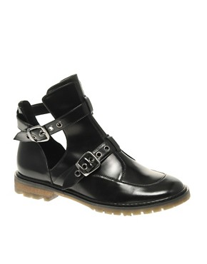 Image 1 ofASOS ALTON Leather Cut Out Ankle Boot