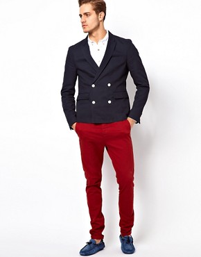 Image 4 ofASOS Slim Fit Double Breasted Blazer