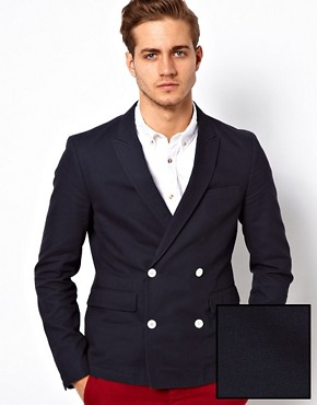Image 1 ofASOS Slim Fit Double Breasted Blazer