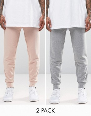 ASOS 2 Pack Skinny Jersey Joggers In Dusty Pink And Grey Marl Save 20%