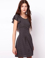 Vero Moda Fluted Sleeve Triangle Print Tea Dress