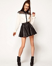 ASOS Full Skater Skirt in Leather