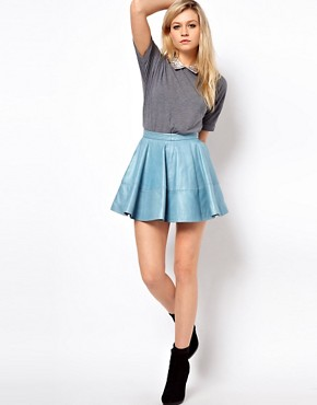 Image 1 ofASOS Full Skater Skirt in Leather
