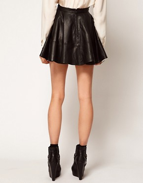 Image 2 ofASOS Full Skater Skirt in Leather
