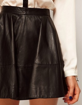 Image 3 ofASOS Full Skater Skirt in Leather