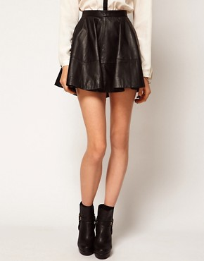 Image 4 ofASOS Full Skater Skirt in Leather