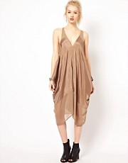 Religion Drape Dress With Sheer Panels