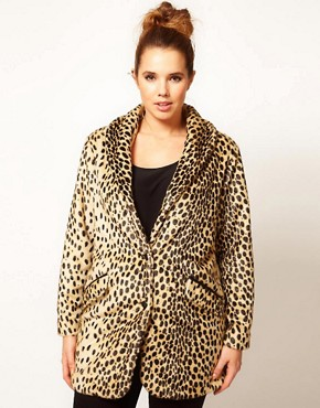 Image 4 ofASOS CURVE Leopard Fur Coat