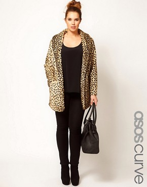 Image 1 ofASOS CURVE Leopard Fur Coat
