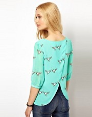 Sugarhill Boutique Open Back Blouse in Lovebirds Print