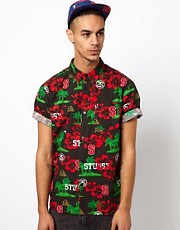 Stussy Shirt Short Sleeve Sport Hawaiian Print