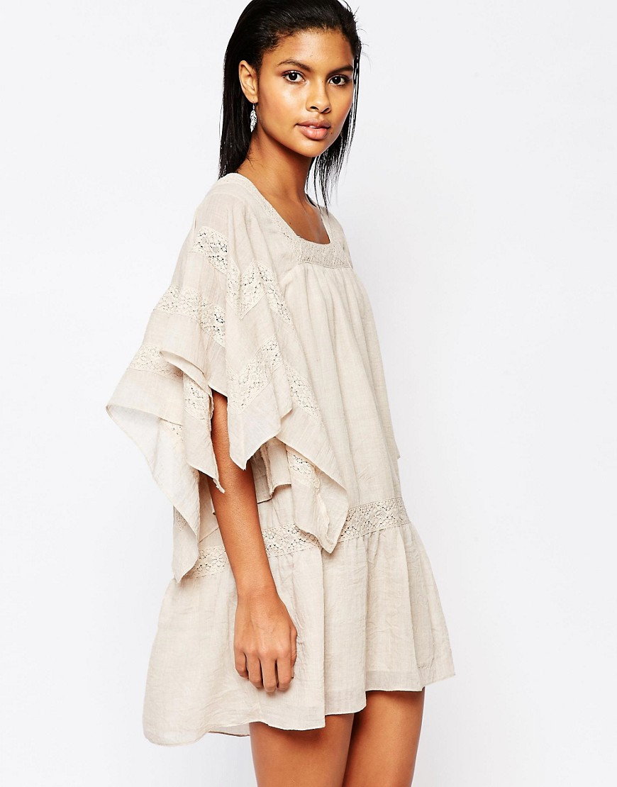 Moon River Oversized Smock Dress with Lace Tie - Pink