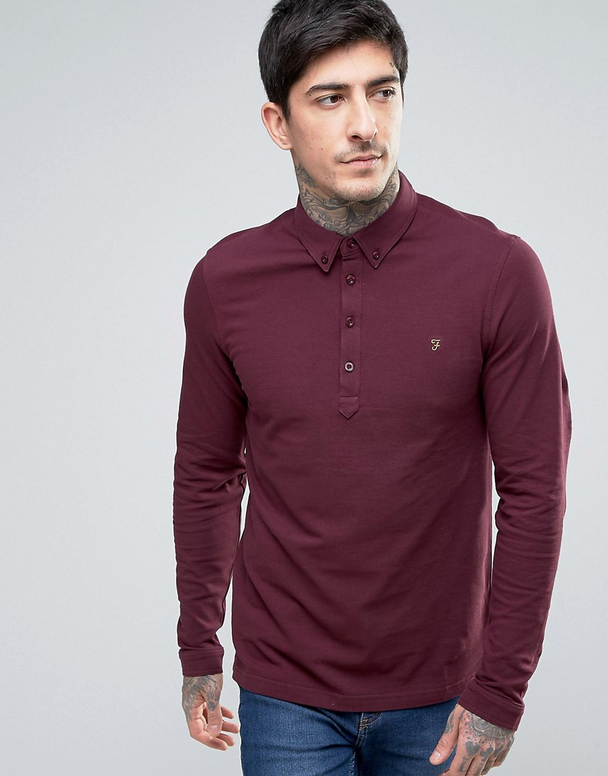 Farah Merriweather Pique Polo Long Sleeve Slim Fit in Bordeaux Marl - Red
