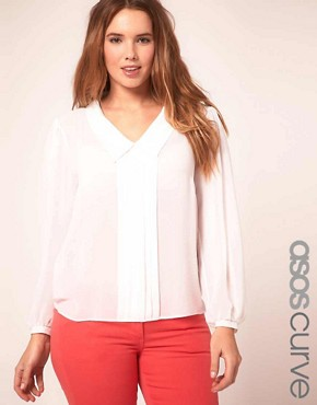Image 1 ofASOS CURVE Blouse With Pleats