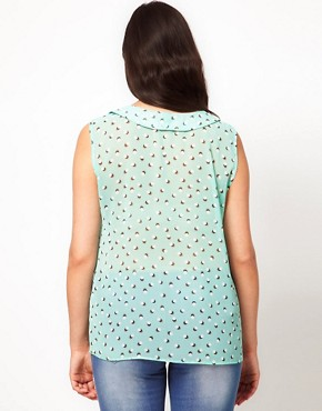 Image 2 ofASOS CURVE Chiffon Blouse In Spot Print