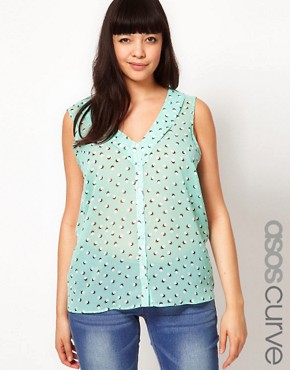 Image 1 ofASOS CURVE Chiffon Blouse In Spot Print
