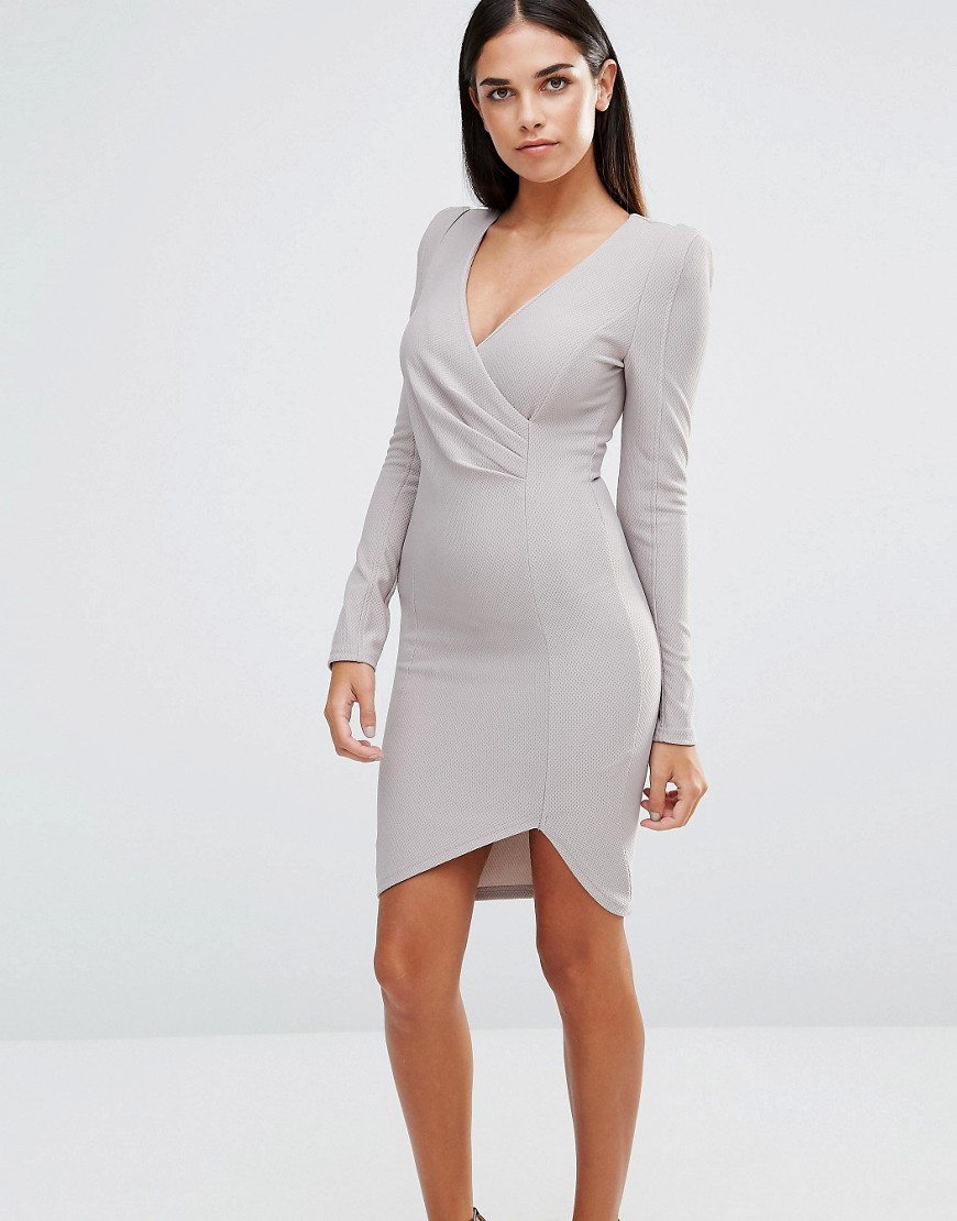 AX Paris Wrap Front Long Sleeeve Dress - Gray