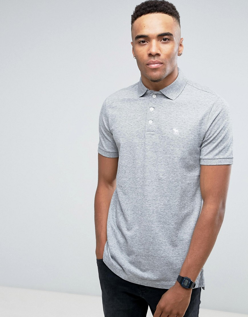 Abercrombie & Fitch Pique Polo Stretch Slim Fit Icon in Grey - Grey