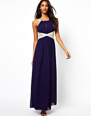 Little Mistress Embellished Maxi Dress with Lace Insert
