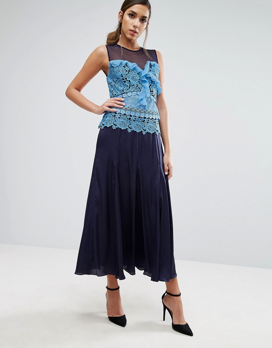Three Floor Pleated Midi Dress with Contrast Lace Detail - Blue