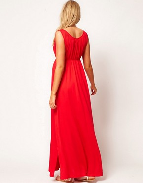 Image 2 ofASOS Maternity Grecian Maxi Dress With Side Split