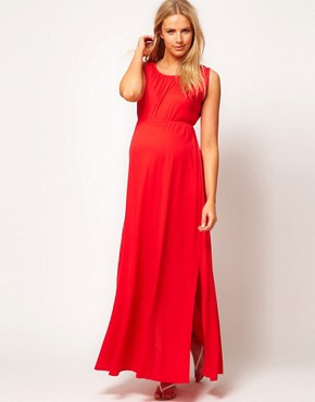 Image 4 ofASOS Maternity Grecian Maxi Dress With Side Split