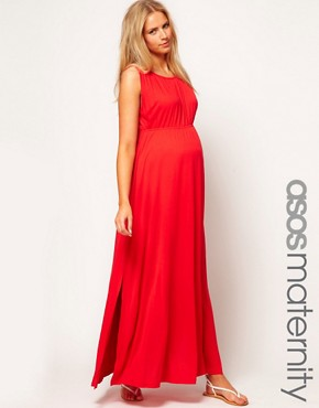 Image 1 ofASOS Maternity Grecian Maxi Dress With Side Split
