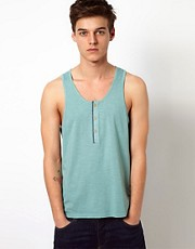 ASOS Tank With Placket And Chambray Trim