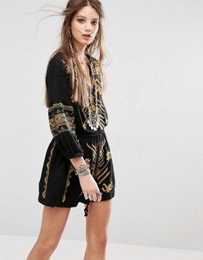 Free People Anouk Mini Dress with Embroidery