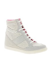 ASOS DENY Studded Wedge Sneakers with Suede Mix