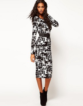 Image 1 ofASOS Bodycon Dress in Dogtooth with Wide Belt