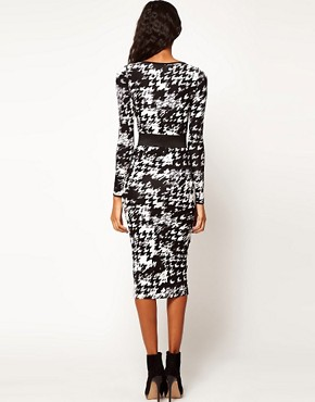 Image 2 ofASOS Bodycon Dress in Dogtooth with Wide Belt