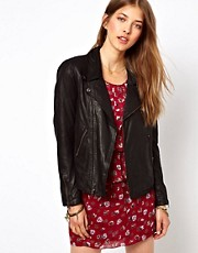 Ganni Leather Biker Jacket in Coated Black